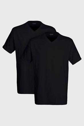 2 pack pánskych tričiek s výstrihom do V Black