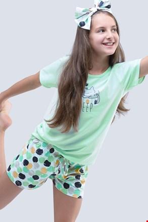 Dievčenské letné pyžamo Cats aqua