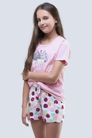 Pijama de vara Cats roz, pentru fetite