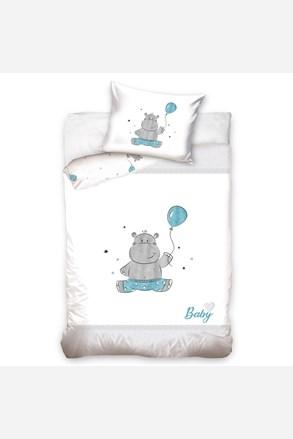 Pościel do łóżeczka dziecięcego Hipopotam niebieska