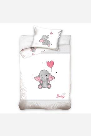 Pościel do łóżeczka dziecięcego Słoń różowa