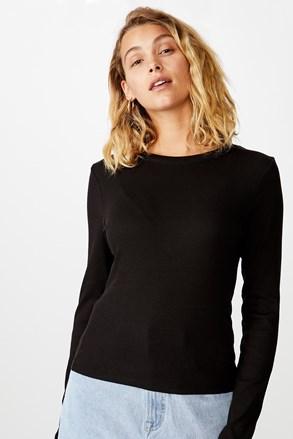 Черна дамска basic блуза с дълъг ръкав Turn