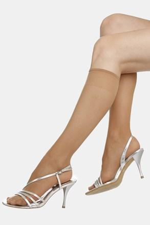 2 PACK дамски силонови чорапи до под коляното EVONA Silver 20 DEN