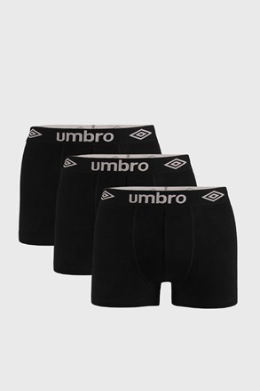 3 PACK boxeri Umbro Organic cotton, negru