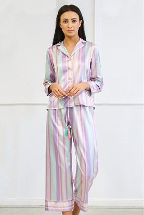Pijama dama Blach lung, din satin