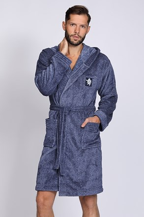 Чоловічий халат Bruce синій меланж