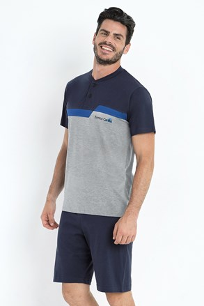 Basile férfi pizsama, szürkés-kék