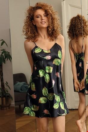 Коротка атласна сорочка Flowers чорна