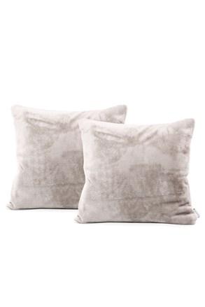 Komplet 2 pokrowców na poduszki beżowy