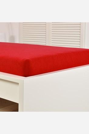 Cearsaf elastic de pat froté, rosu