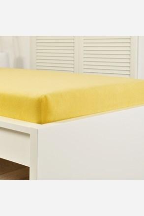 Cearsaf elastic de pat froté, galben