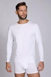 Bluza barbateasca Cotton Nature, maneca lunga, alb