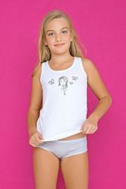 Комплект за момичета от бикини и потник Fairy сив
