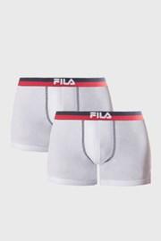 2 pack boxeri albi FILA, banda elastica rosu-albastru