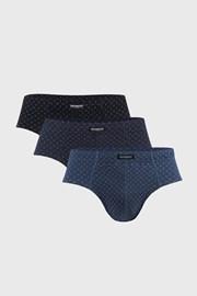 3 PACK modro-čiernych slipov Classic