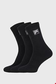 3 PACK μαύρες ψηλές κάλτσες με λογότυπο FILA