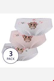 3 PACK gaćica za djevojčice Owl