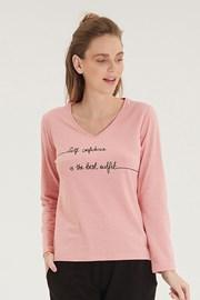 Dámske ružové tričko s dlhým rukávom