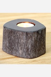 Suport de lumanare din lemn fosilizat, negru