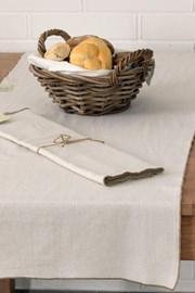 Bieżnik na stół Home Design beżowy z ozdobnym lamowaniem