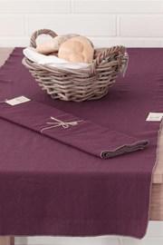 Bieżnik na stół Home Design fioletowy z ozdobnym lamowaniem