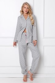 Christy női flanel pizsama, hosszú