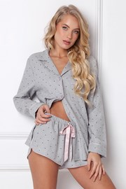 Pijama Christy din flanel, scurta