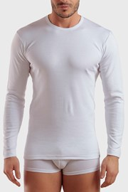 Męski T-shirt z długimi rękawami biały