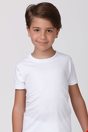 Tricou alb pentru baieti, din bumbac