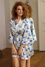 Атласний халат Flowers синій