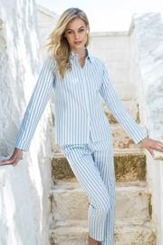 Dámske pruhované pyžamo s dlhými rukávmi