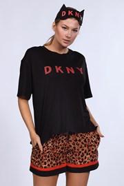 DKNY Brown Animal női pizsama és alvómaszk 1 szettben