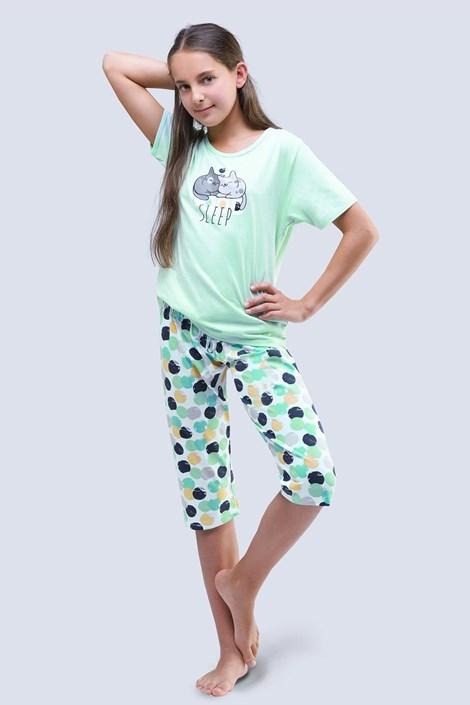 Dievčenské pyžamo Cats aqua