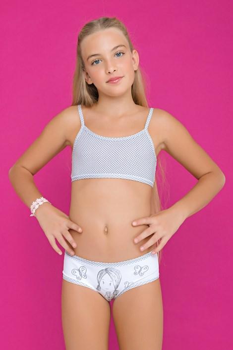 Комплект за момичета от бикини и топ Fairy Grey
