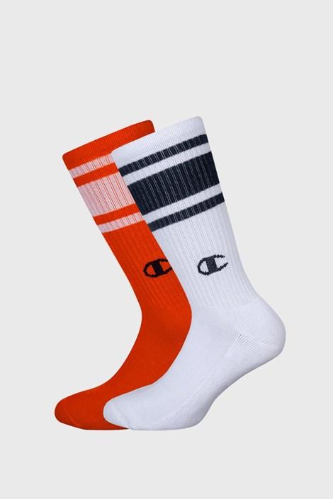 2 pack vysokých oranžovo-bielych ponožiek Champion
