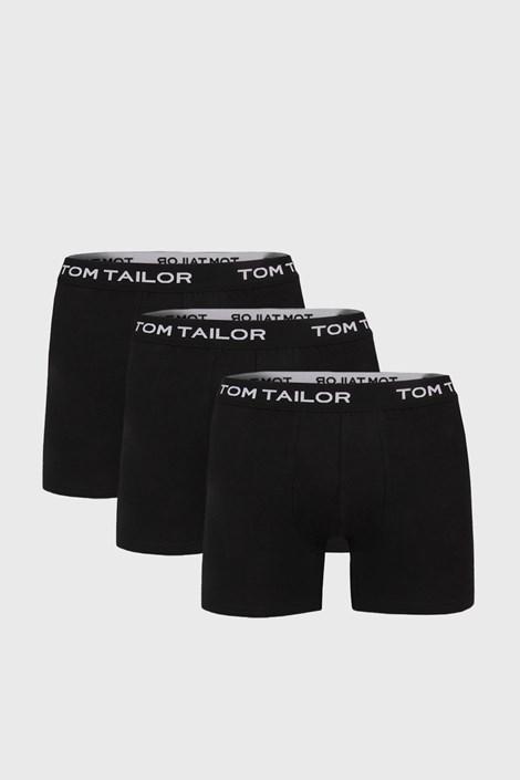 3 PACK по-дълги черни боксерки Tom Tailor