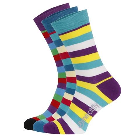 3 pack farebných ponožiek Meatfly Dark Small Stripe