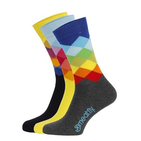 3 pack farebných ponožiek Meatfly Pixel