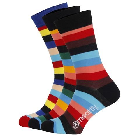 3 pack farebných ponožiek Meatfly Regular Stripe