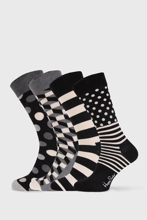 4 PACK sosete Happy Socks Black and White