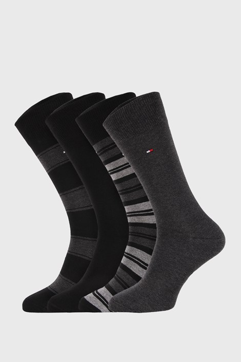 4 PACK μαύρες μα γκρι κάλτσες Tommy Hilfiger