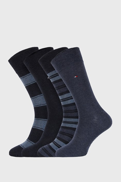 4 PACK modrých ponožiek Tommy Hilfiger