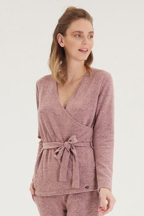 Γυναικεία ροζ μπλούζα κρουαζέ με μακρύ μανίκι