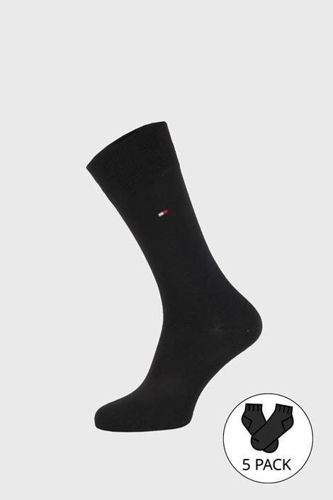 5 PACK čiernych ponožiek Tommy Hilfiger