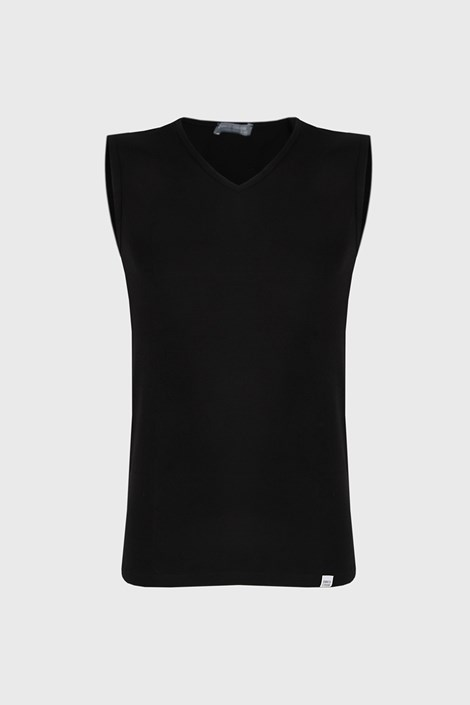 Czarna koszulka bez rękawów