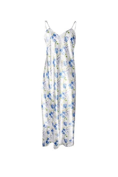 Атласна нічна сорочка Flowers синя