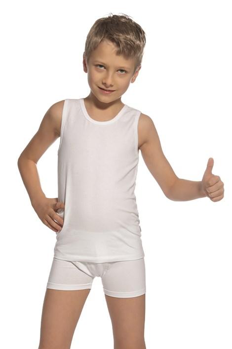 Komplet fantovske majice brez rokavov in boksaric, bel