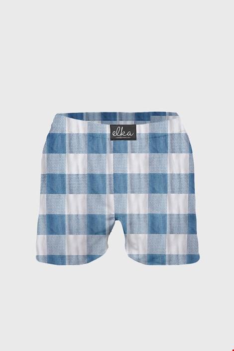 ELKA LOUNGE férfi alsónadrág, kék-fehér kockás