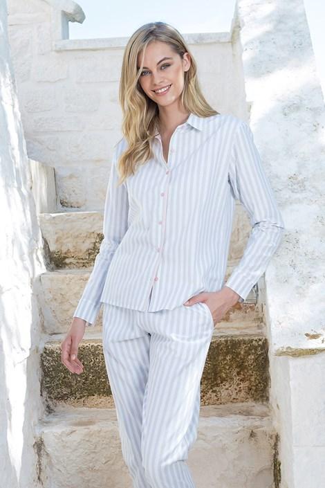Damska piżama w paski z długim rękawem