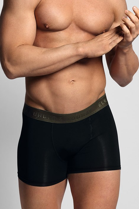 Boxeri ELKA LOUNGE negru, banda elastica kaki